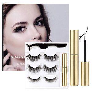 Magnetic Eyelashes and Eyeliner Kit Reusable 3 prs